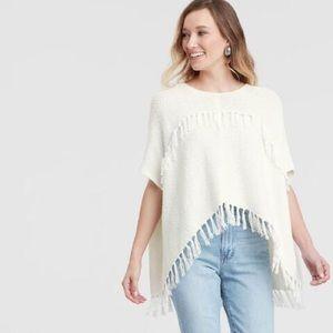 World Market white fringe sweater